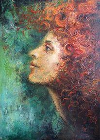 Frau, Haare, Portrait, Rot