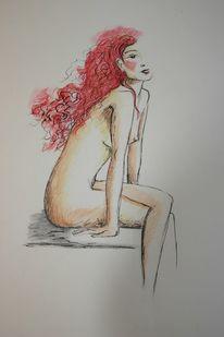 Mädchen rotes haar, Zeichnungen, Mosaik, Mädchen