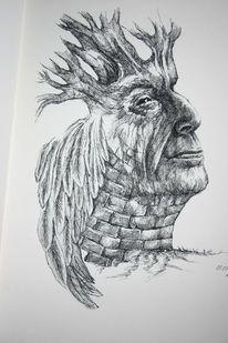 Mauer, Feder, Baum, Gesicht