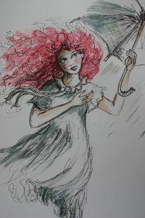 Rot, Wind, Regenschirm, Regen