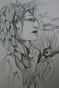 Haare, Traum, Blätter, Engel