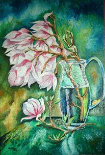 Magnolien, Glas, Wasser, Licht