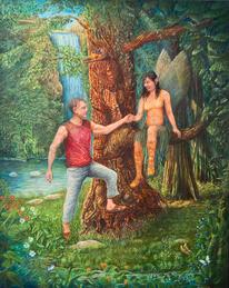 Mann, Wasserfall, Wald, Märchenwald