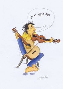 Geige, Insterburg, Karikatur, Violine