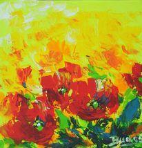 Tulpen, Feld, Frühling, Malerei