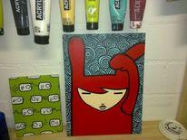Blau edding, Acrylmalerei, Rot, Hase