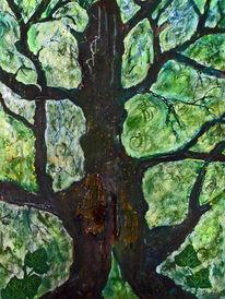 Malerei, Acrylmalerei, Abstrakt, Baum