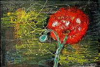 Malerei, Acrylmalerei, Abstrakt, Rose