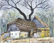 Wassermühle, Mühle, Krabat, Landschaft