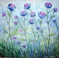 Trollblumen, Fantasie, Violett, Aquarellmalerei
