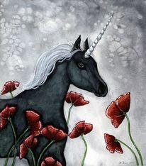 Schwarzes einhorn, Fantasy aquarell, Illustration, Pferde