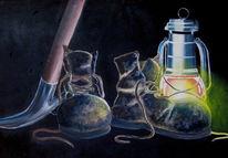 Grubenunglück chile bergleute, Rettung bergleute capiapo minenunglück, Spitzhacke petroleumlampe alte schuhe, Malerei