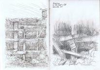 Ruine, Skizzenbuch, Bleistiftzeichnung, Zeichnungen