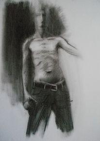 Männlich, Oberkörper, Schwarz weiß, Figur