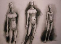 Haltung, Menschen, Kohlezeichnung, Zeichnungen