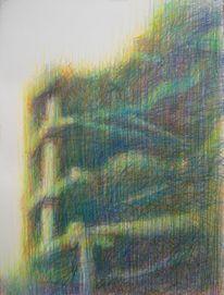 Ruine, Buntstiftzeichnung, Spektralfarbe, Zeichnungen