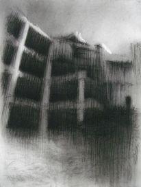 Düster, Kohlezeichnung, Schwarz, Ruine