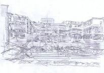 Bleistiftzeichnung, Ruine, Skizze, Zeichnungen