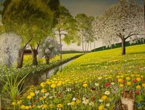 Blumen, Dandelions, Bach, Malerei