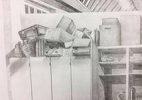 Zeichnung, Schrank, Kiste, Schachtel