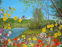 See, Schweiz, Acrylmalerei, Sommer