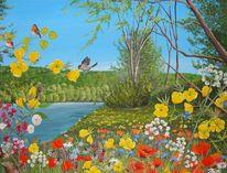Blumen, Acrylmalerei, Sommer, Vogel