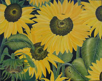 Sommer, Gemälde, Sonnenblumen, Gelb