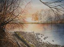 Sonnenuntergang, Malerei, November, Baum