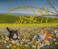 Wiese, Blumen, Löwenzahn, Acrylmalerei