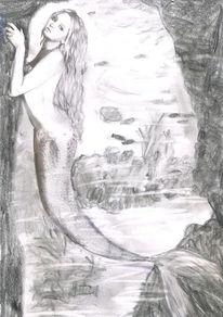 Zeichnungen, Surreal, Meerjungfrau
