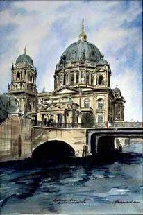 Mitte, Aquarellmalerei, Wasser, Berliner dom
