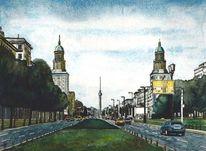 Berlin, Radierung, Allee, Frankfurter