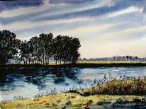 Aquarellmalerei, Landschaft, Havel, Brandenburg