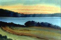 Aquarellmalerei, Scharfenberg, See, Sonnenuntergang