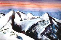 Aquarellmalerei, Gletscher, Morgenröte, Schnee