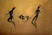 Menschen, Zerkallbütten, Afrika, Aquarellmalerei