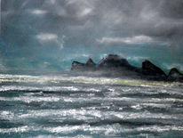 See, Wolken, Insel, Ölmalerei