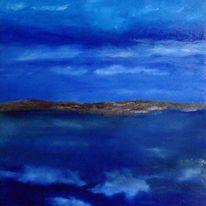 Spiegel, Wolken, Ölmalerei, See