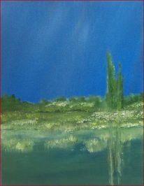 Fluss, Ölmalerei, Ognon, Landschaft