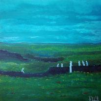 Malerei, Wald, Walpurgisnacht, Acrylmalerei