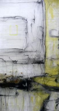 Kohlezeichnung, Abstrakt, Architektur, Gelb