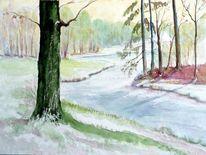 Winter, Cottbus, Branitzer park, Fürst pückler