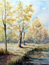 Herbst, Herbstbäume, Weiher, Aquarell