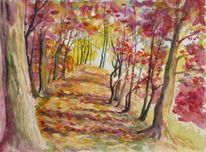 Herbstlaub, Aquarell, Meine bilder