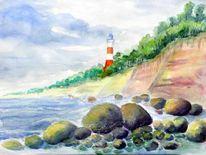 Leuchtturm, Küste, Aquarell, Meine bilder