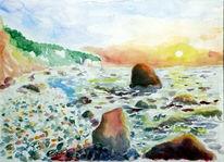 Rügen, Insel, Sonnenuntergang, Aquarell