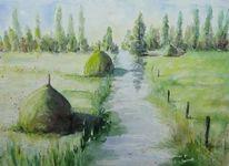 Spreewaldlandschaft, Heumieten, Graben, Aquarell