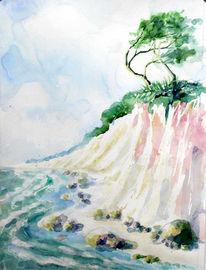Aquarell, Meine bilder, Baum, Steilküste