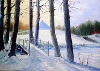Cottbus, Ölmalerei, Branitzer park, Winterlandschaft