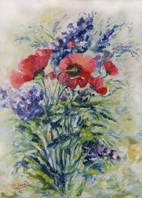 Blau, Mohn, Expressionismus, Rot
